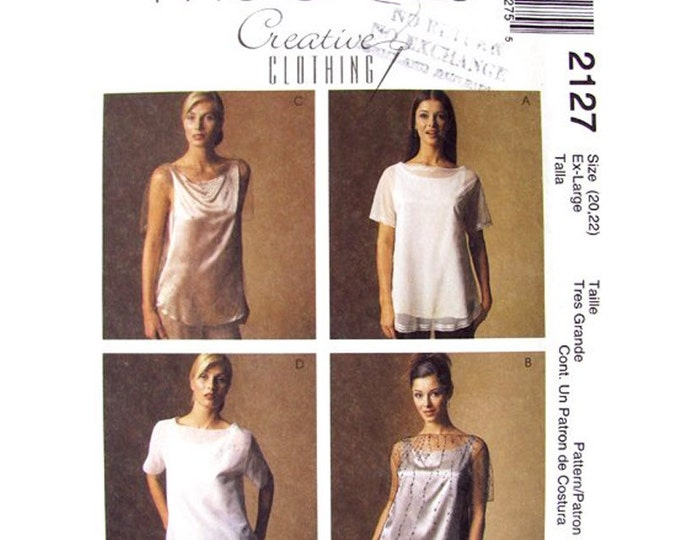 Womens Top & Camisole Pattern McCalls 2127 Bateau Neckline Embellished Top Plus Size 20 22