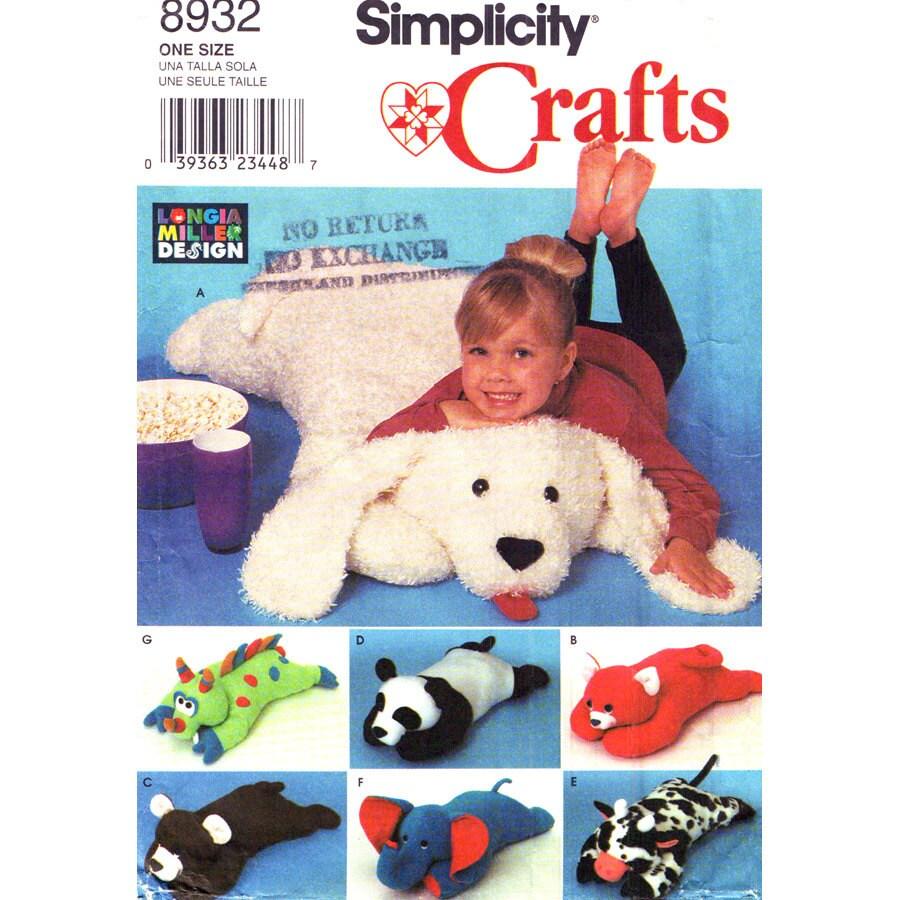Animal Pillows Pattern Simplicity 8932 Large Stuffed Animal