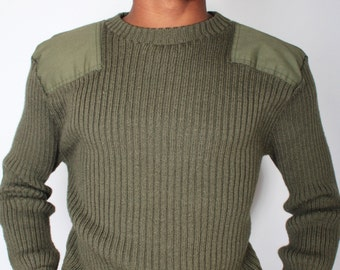 Vintage Marine Corps MILITARY ISSUE Dark Green Cable Knit Sweater // Mens Vintage Army Sweater (sz L Xl)