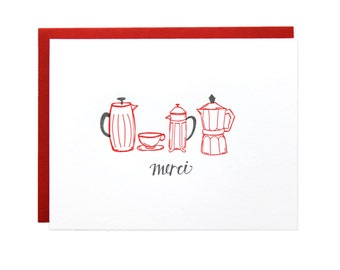 Merci French Press Thank You Letterpress Card