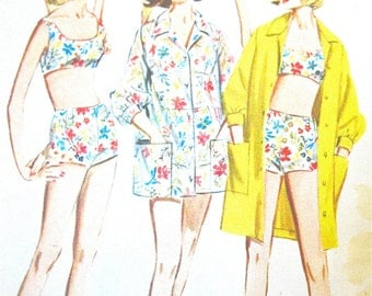Uncut Mid 60s Butterick 3078 Misses' Sportswear Bathing Suit Fitted Bra, Shorts, Cover-up Beach Wear  Vintage Sewing Pattern  Bust 32 inches