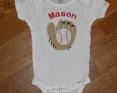 """Embroidered Onsie- """"Baseball and Glove"""""""