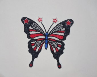 Embroidered Iron On Applique- 4th of July Butterfly