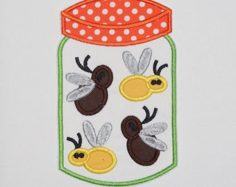 "Embroidered Iron On Applique- ""Bug Jar"""
