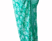 Sarong Women's Clothing Beach Sarong Pareo Wrap Swimsuit Cover Up Sarong Skirt or Dress Aqua and White Flowers Batik Sarong Coverup Swimwear