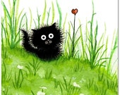 Fuzzy Black Kitty Cat Flower Heart ArT - Art Prints by Bihrle ck249