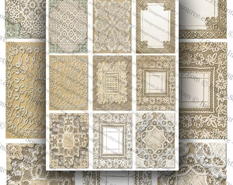Printable Vintage Lace Backgrounds, Digital Collage Sheet, ACEO Size Images, Instant Download