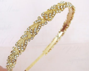 Vintage Style Crystal Headband, Gold Silver Wedding Headband, Vintage Thin Hairband, Rhinestone Wedding Head band, Bridal Hairband - 'RIO'