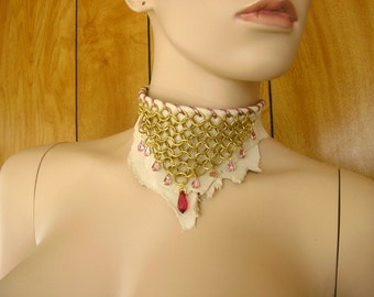 "Brass chainmail and cream deerskin leather collar choker with pink crystal drops,  4"" widest point, 13"" long with leather ties"