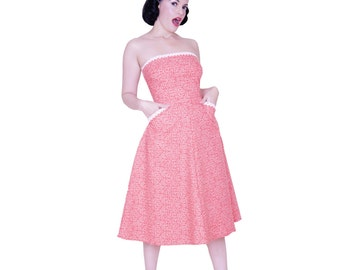 Spring SALE- Penelope dress from The Domestic Dame - strapless day dress with pockets - red and cream dot cotton