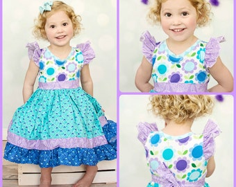 Bold Blue & Purple Floral Flutter Sleeved Dress - Girls - Flowers - Spring - Birthday - Party - Celebration - Photos - Easter - Ruffles