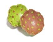 Polka Dot Wood Bowls | Hand Painted Crackled Bowls