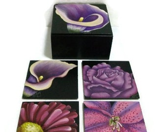 Hand Painted Set Of Floral Coasters In Matching Box