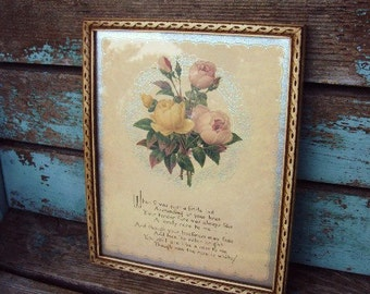 Vintage Motto Poem Lithograph picture Shabby chic Mothers Poem Roses Wood Frame