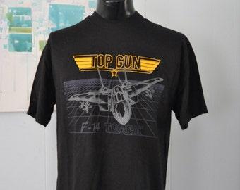 Top Gun Tee F14 Tomcat Classic 80s Movies Airplane Jet Fighter Plane Vintage TShirt XL LARGE