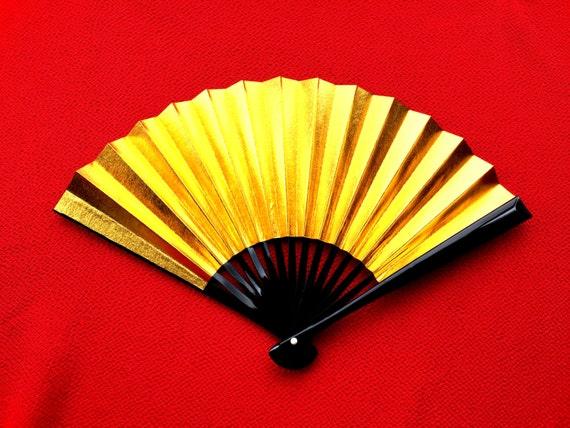 Gold Silver Hand Fan Japanese Vintage Paper Fan Sensu Ogi F103 Small Size