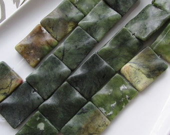 Antiqued New Jade Wavy Rectangle 27-30mm by 20-22mm 1pc