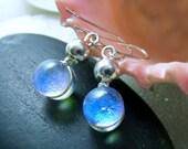 Translucent Mermaid Tears Blue Opal Dichroic Glass Earrings, Drop Earrings, Fused Dichroic Glass and Sterling Silver, Beach Dangle Earrings