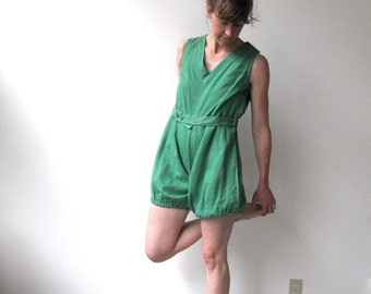 Vintage 1930s Man-O-War Gym / 1920s ladies cotton romper