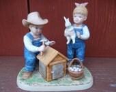 "1985 Homco Home Interiors Denim Days ""Bunny's Hutch""  Figurine #1514"