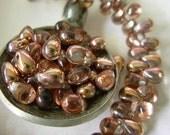 6x4mm Czech Teardrop Glass Beads- Apollo Gold (50)