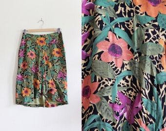 SALE Vintage Animal Print & Floral Skirt