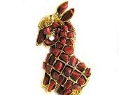 Swoboda Carnelian Donkey Figural Brooch