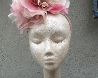 Pink and Pink Gold Metallic Silk Organza Flower Headpiece