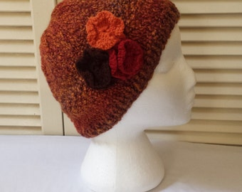 Womens Knitted Hat  Fall Colors And Flowers / Knit Beanie / Floral Cap/ Handmade Accessory