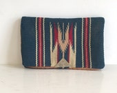 Vintage 1930s Turquoise Wool Chimayo Purse Hand Loomed Handbag