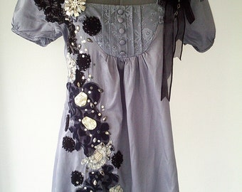 handmade grey dress, gray upcycled dress, black gothic dress, grey gothic dress, black lace dress, gray repurposed dress