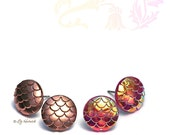 Dragon Scales Stud Earrings, Stainless Steel - Titanium Post Earrings, Rose Gold Metallic and Gold Pink Sunrise, 2 Pair Set, 12mm