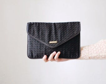 SALE...70s 80s Jane Shilton envelope bag. black fabric clutch. envelope clutch