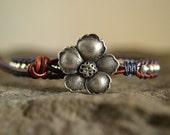 Navy Wild Rose Leather Wrap Bracelet