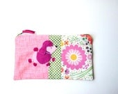 """Zipper Pouch, 5.25x8.75"""" in pink, green, white, yellow and coral flowers with Handmade Felt Poodle Dog Embellishment, Poodle Pencil Case"""