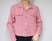 Jacket Vintage Red Gingham Checkered Jacket Boho Crop Jean Jacket Plaid Western Denim Style Size Small