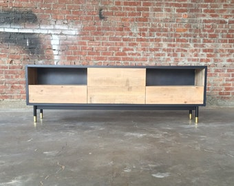 Industrial Steel + Rough Oak Credenza