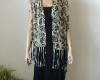 """Dramatic Silk Chiffon Long Scarf or Shawl...Black and Ivory Roses...Reminiscent of """"Titanic"""" Flying Scarf"""