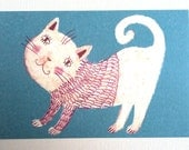 Cat sweater - FUN postcard - Printed on a fine quality 250 gram paper - 4x6 inch card-paper goods -kids drawings -kid postcard