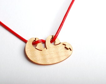 Wooden Happy Sloth Necklace