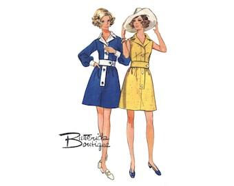 1960s Shirtdress Dress Pattern Notched Collar Full Sleeves Sleeveless Wide Belt Butterick 5581 Bust 34 Vintage Sewing Pattern