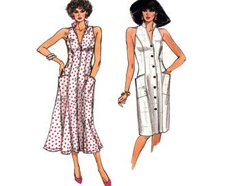 1980s Easy Dress Pattern V Neck Princess Seams Cut Away Armholes Sleeveless Flared Very Easy Vogue 9540 Bust 30 31 32 Vintage Sewing Pattern