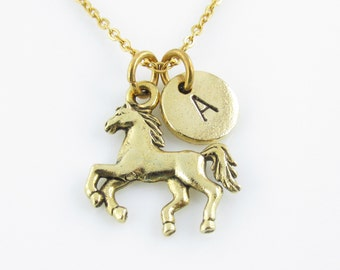 Horse Necklace, Horse Charm Necklace, Antique Gold, Personalized, Initial Necklace, Equestrian Charm, Animal Charms, Monogram Necklace Z251