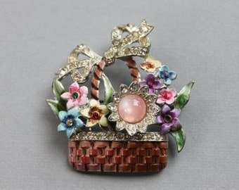 1942 CORO Flower Basket Brooch / Adolph Katz / Enamel Moonglow and Rhinestone Pin