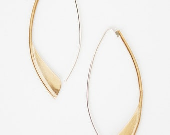 Organic threader hoop- brass hoop- brass drop earring- gold tone earring- fin drop hoop- two tone hoop
