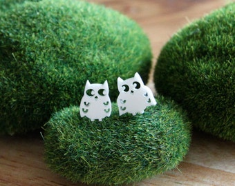 White Owl Earring Studs, Owl Earrings, quirky jewellery, mismatched earrings