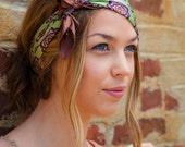 Green Silk Headband, Green and Brown headband, Green Headpiece, Summer Headband, Bohemian Headband, Boho Headband