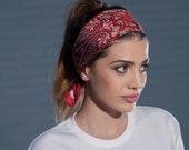 Silk Headband, Silk Head Wrap, Red Headband, Summer Headband, Boho Headband, Red Head wrap in silk, Headband Floral Pattern