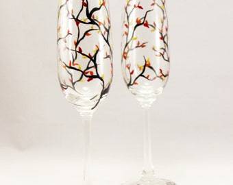 Customized Fall wedding champagne flutes - set of 2 hand painted champagne glasses
