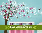Removable Cherry Blossom Tree Wall Decal Children Wall Sticker Nursery Wall Decals -Wall Decor Wallpaper